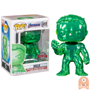 POP! Marvel Avengers Endgame Hulk w/ nano gauntlet Green Chrome #499 Exclusive